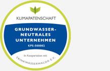 Zertifizierung Klimapatenschaft, Grundwasserneutrales Unternehmen